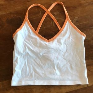 Forever 21 White Crop Top with Orange Trim
